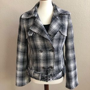 Armani Exchange A/X plaid wool knit moto jacket